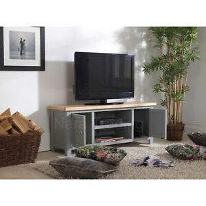 Richmond large television cabinet grey painted furniture with solid oak top