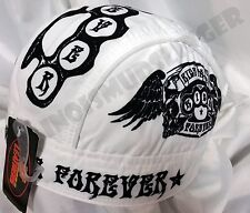 Ride Fast Forever Winged Skulls Headwrap Biker Doo Rag Durag Cap #1045