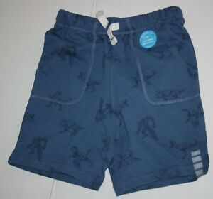 NEW Carter's Boys Shorts Terry 2T 3T 4T 5T Drawstring Blue w Dinosaur Print