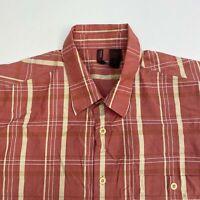 Perry Ellis Button Up Shirt Men's Size 2XL XXL Short Sleeve Red Tan Plaid