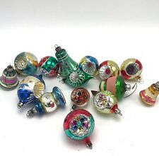 15 Vintage Glass Christmas Ornaments Indent Bell Teardrop Poland USA