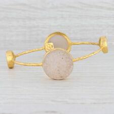 "New Nina Nguyen Bangle Bracelet Druzy Quartz Sterling Silver 22k Gold Vermeil 8"""