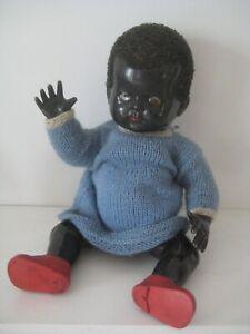 "Vintage 13"" Black Hard Plastic Doll Made In England"