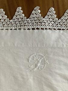 VINTAGE WHITE HEAVY LINEN SHEET DOUBLE ANTIQUE PILLOWCASE WHITE WORK D Monogram