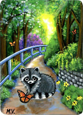 Original Raccoons Butterfly Path Journey Flowers Spring Summer ACEO Print