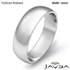 Mens Wedding Band Dome Plain High Polish Solid Ring 6mm Platinum 10.2gm 11-11.75