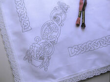 Tablecloth to embroider Celtic design with lace edge printed embroidery CSOOO5