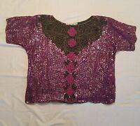Women's Scala Dressy Sequin Blouse ~ Sz XL2 ~ Pink & Black ~ Floral ~ Pure Silk