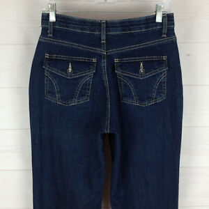 Merona womens size 6 stretch med dark wash comfort no-gap flap bootcut jeans EUC