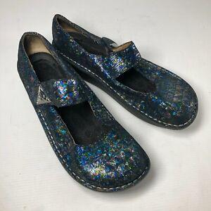 Alegria Blue Green Metallic Potato Casual Comfort Womens Mary Jane Shoes Sz 40