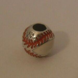 Sterling Silver 925 Kay's Ladies Baseball Charm Pendant Enamel MA 4.3 grams
