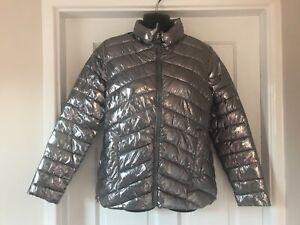 ZARA Kids Outerwear Girls Metallic Silver Puffer Jacket/Coat Age 13/14