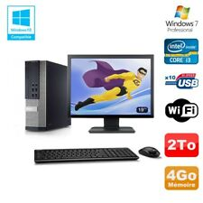 Lot PC DELL 790 SFF Intel Core i3-2120 3.3Ghz 4Go 2To WIFI W7 Pro + Ecran 19""