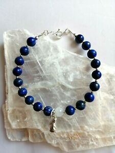 Moon gazing hare sterling silver Lapis Lazuli & Moonstone bead bracelet 7.25 ins