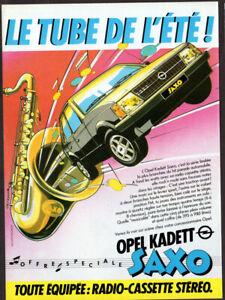1982 OPEL Kadett Saxo Vintage Original Print AD - Gray car art music France