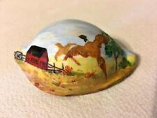 "Original Hand Painted Natural Cowrie Seashell Art Pheasants Flying Over Barn 3"""
