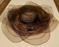 """Hat Wide Brim Woven Mesh Net Brown Feather 58Cm 8"""" D Retro"""