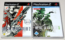 2 PLAYSTATION 2 SPIELE SET - METAL GEAR SOLID 2 SONS OF LIBERTY & 3 SNAKE EATER