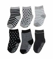 Baby Toddler Gripper Socks 6 Pairs Anti-Slip Non-Skid with Grips Boys 2T & 3T