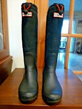 Hunter Original Tour Rubber Canvas Black Rain Boots Size 9