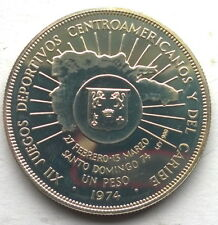 Dominican 1974 Caribbean Games Peso Silver Coin,Proof