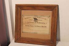 Framed Certificate of Membership 1896 Scoresby Hose Company No. 1