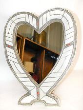 SUPERBE FAIT MAIN Antique Arts & Crafts/Art nouveau en forme de cœur miroir
