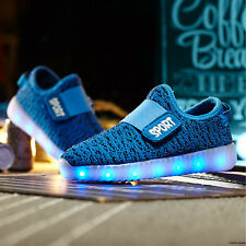 USB Charge LED Flash Light up Shoes Kids Boys & Girls Casual Trainers SNEAKERS Blue EUR 33 / UK 1