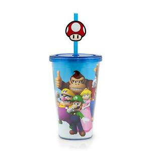 Super Mario Bros. 16oz Travel Cup with Straw Holder