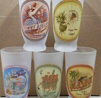 TOMMY BAHAMA HAWAIIAN LUAU FROSTED ASSORTED TIKI SET OF 5 SHOT GLASS HAPPY HOUR