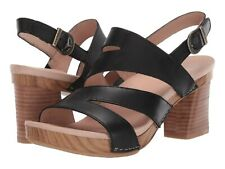 Dansko Ashlee Sandal Black Burnished Calf Leather Strappy Block Heel NEW Size 41