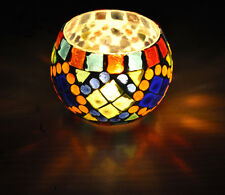 Indian Tea Light Candle Holder Round Decoration Table Mosaic Romantic Lamp 3""