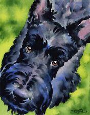 SCOTTISH TERRIER Dog Watercolor 11 X 14 ART Print Signed by Artist DJR