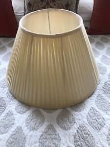 """Large India Jane Lamp Shade in Empire Pleated Almond Ivory Silk ~ 20inch """" 50cm"""