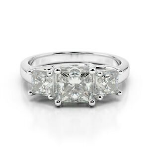 Princess Cut Diamond Birthday Special Ring Solid White Gold 2.00 Ct