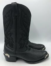 Road Wolf Black Leather Western Cowboy Boots Mens Size 7.5 M EUC