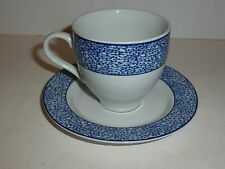 Aquatic Genevieve Lethu Cup and Saucer, Blue Band Line/Dot Design