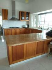 Large Tasmanian Oak U shaped Kitchen with solid stone benchtops. Good Condition