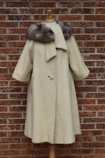 Vintage 1950s Lilli Ann Mohair Coat Fox Fur Collar Dress Jacket Creamy White SML