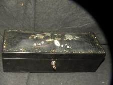 ANTIQUE VICTORIAN ENGLISH PAPIER MACHE NEEDLE DRESSER BOX MOTHER OF PEARL LAQUER