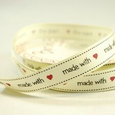 16mm Bertie's Bows Made With Love Grosgrain Heart Craft Ribbon 25 Metre Roll