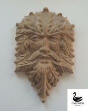 """©Wooden carved ornament relief mascaron""""Forest Head""""Onlay Applique Sticker Decor"""