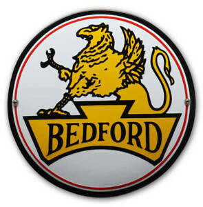 Bedford vitreous enamel steel badge 100mm diameter (jj)