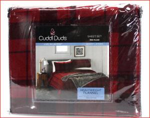 Cuddl Duds Heavy Weight 100% Cotton FLANNEL Sheet Set - Red Black Plaid 🌟NEW🌟
