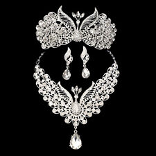 Phoenix Austrian Crystal Rhinestones Necklace Earring Tiara Set Prom Wed N92S