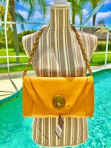 ELLIOTT LUCCA-Yellow Gold 100% Leather DRAMATIC Duo Clutch/Shoulder bag NEW $138