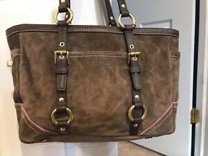 Coach Madison Suede Tote- Brown With Pink Trim
