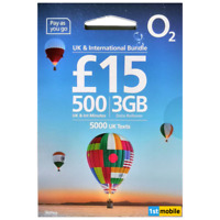 O2 Sim Cards, Pay As You Go, 500 MINUTES TO UK & INTERNATIONAL NUMBERS, 3GB DATA