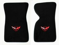 NEW! Black Floor Mats 1968-1982 Chevy Corvette With Embroidered Red Race Flags