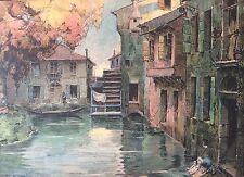 Moulin a aube et lavoir gravure fin XIXe Lavandière Lavage linge